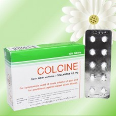 Капсулы против подагры и отложения солей с Колхицином Colcine, 100 капсул. Таиланд